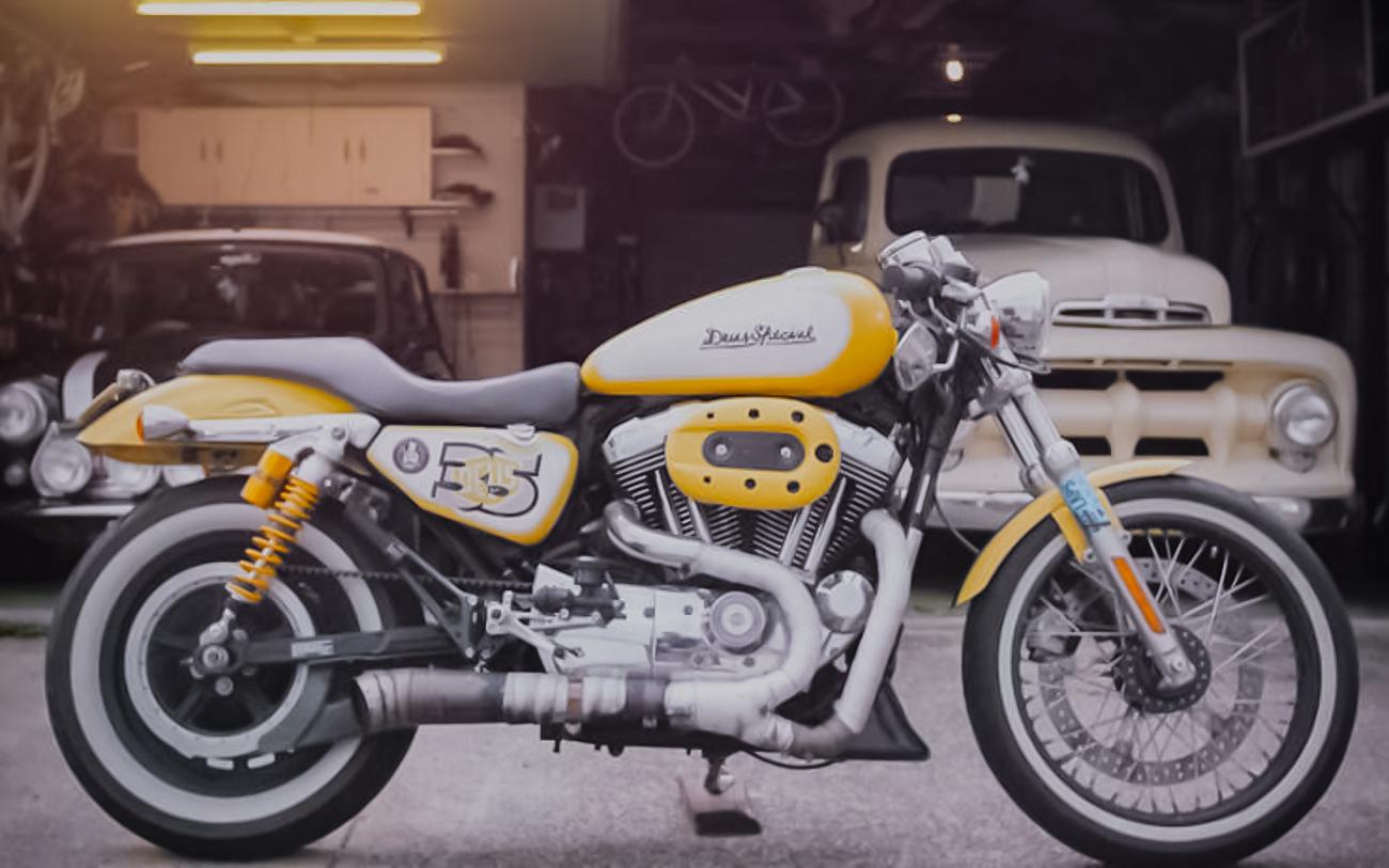 Yellow Harley-Davidson Cafe Racer Custom