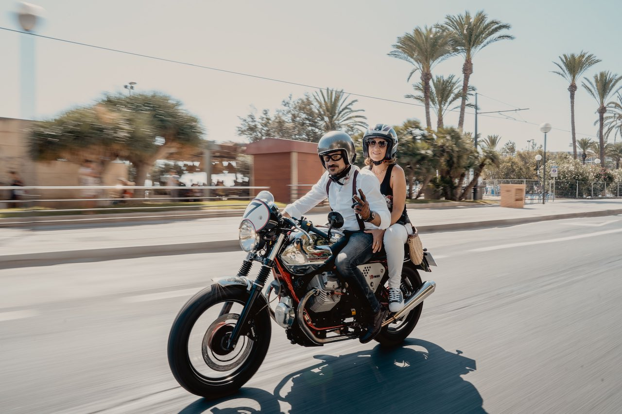 DGR Riders on a Moto Guzzi V7 Racer, Alicante Spain