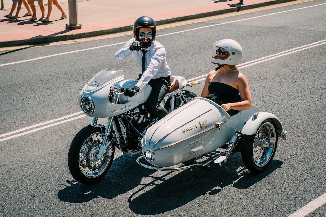 Motorcycle and Sidecar at the Distinguished Gentleman's Ride - Gold Coast Australia