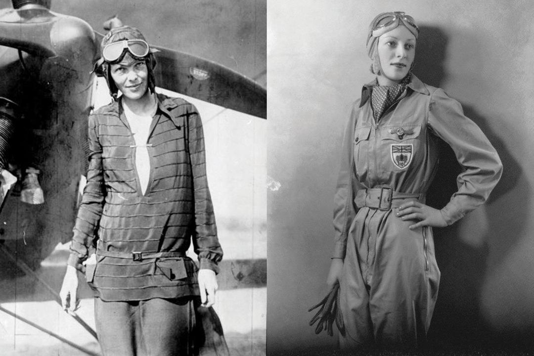 Amelia Earhart [Left], & Amy Johnson - Aviation Pioneers & Belstaff Ambassadors