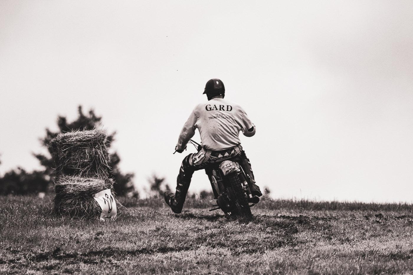 Custom Scrambler Racing in a field