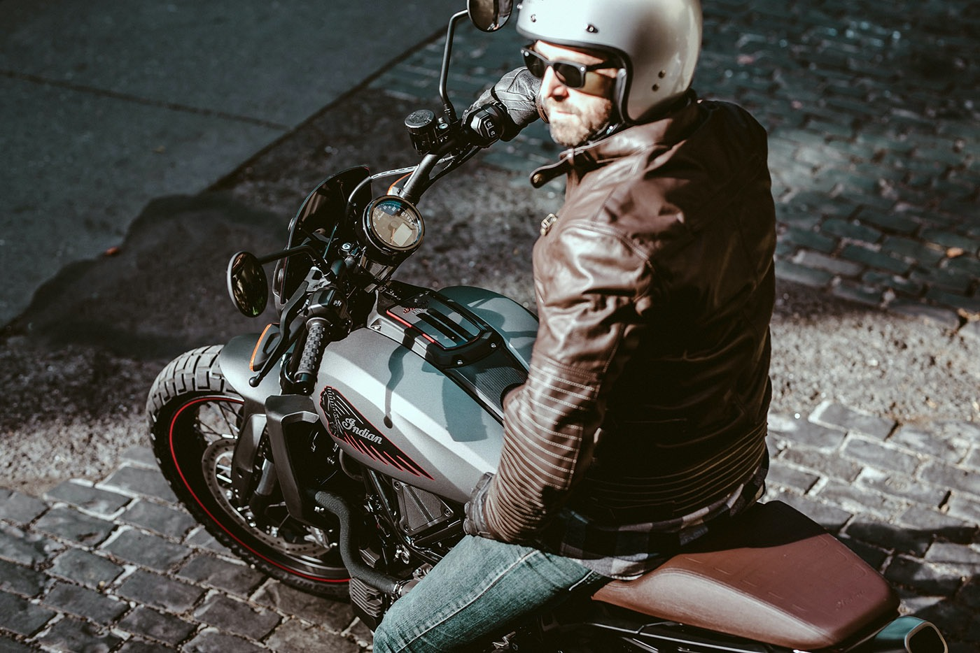 Indian Motorcycle FTR Rally Rider With Open Face Helmet