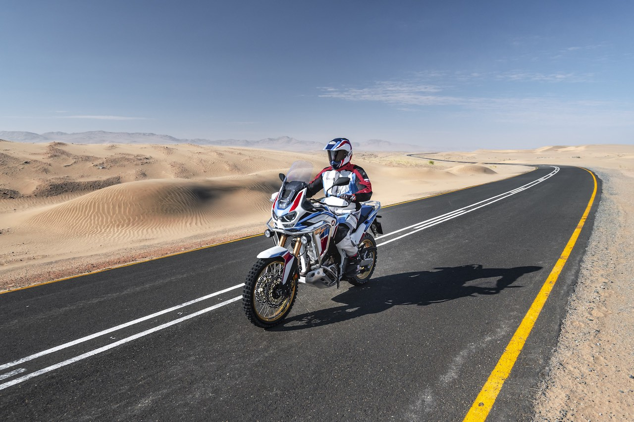 Honda Africa Twin Adventure Sports on a desert road