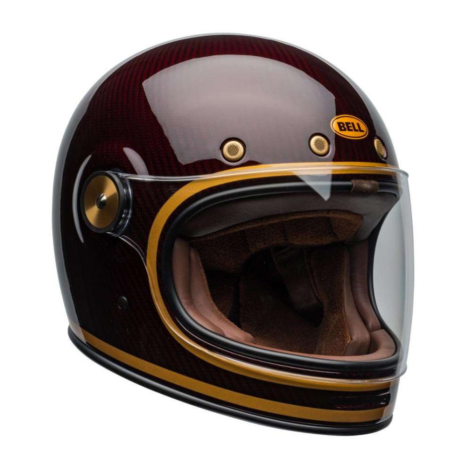 Bell Bullitt Helmet Transcend Gloss Carbon Candy Red Gold [clear-shield-front-right]