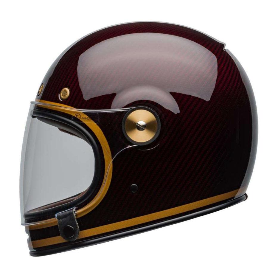 Bell Bullitt Carbon Helmet Transcend Gloss Candy Red Gold [clear-shield-left]