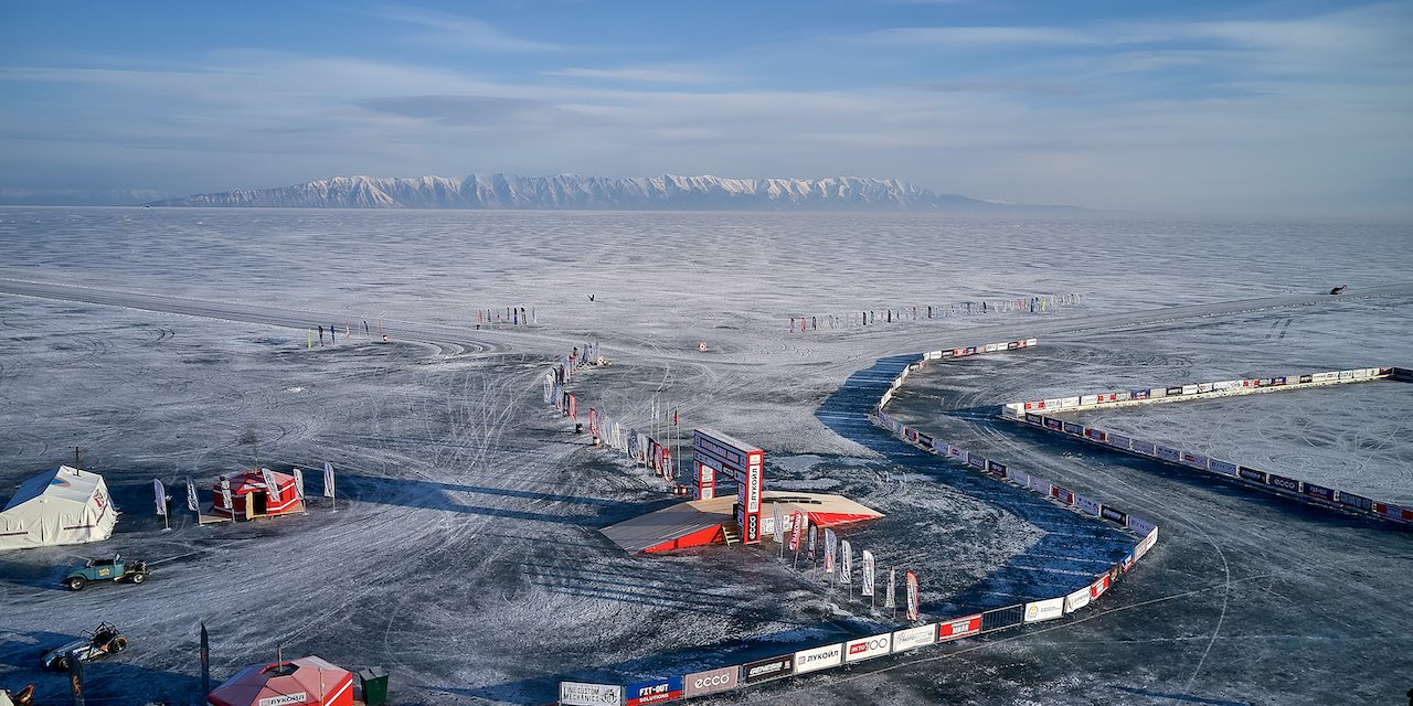 View of Baikal Mile Specially Cleared Ice Tracks