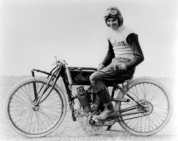 Albert 'Shrimp' Burns on Indian Motorcycle Board Tracker
