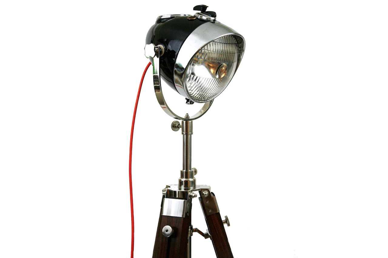 Vintage Headlight -  Modern Weld Vintage Floor Lamp Ural Headlight Black