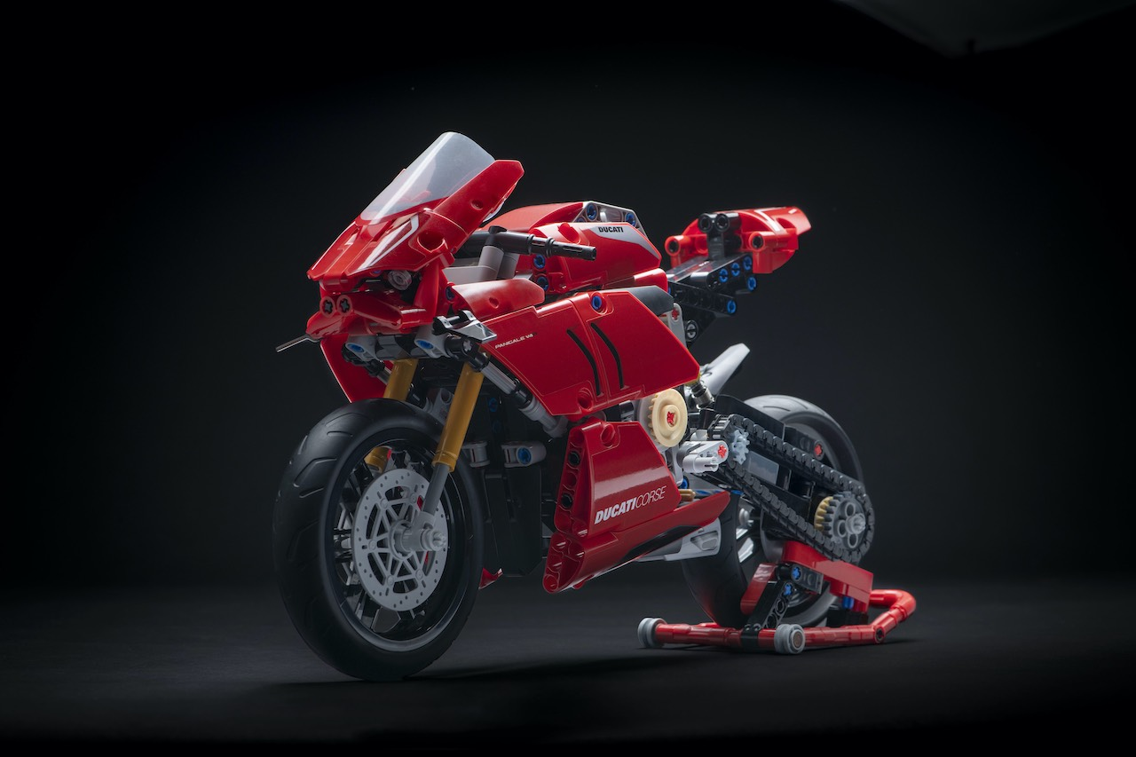Ducati Lego Panigale V4 on paddock stand